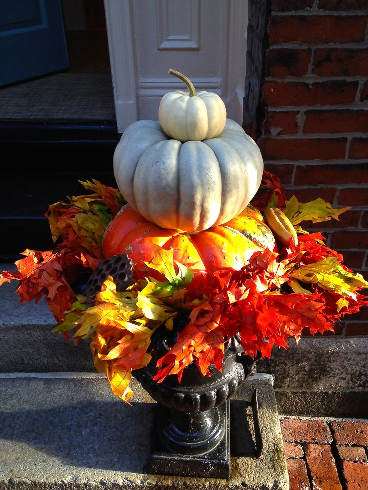 78 best images about outdoor planters on pinterest Fall outdoor decorating with pumpkins
