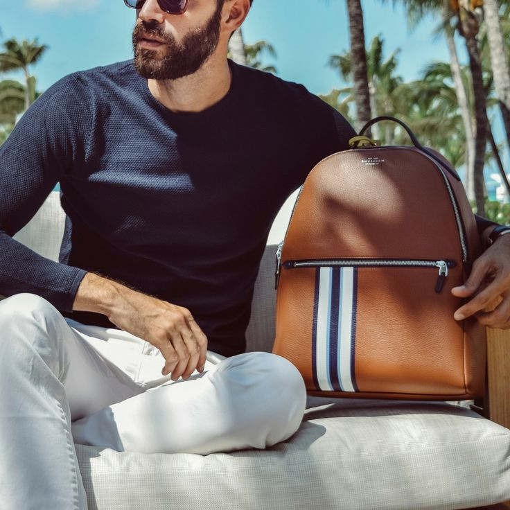 Blogger and photographer Christian Bendek is always on the go. Whether he's relaxing in St. Barths, or running between shows at Milan Men's Fashion Week, he's always got his Burlington Stripe backpack in tow. We joined him on his most recent trip to Aruba