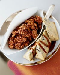 Would love to do this for a holiday party:  Port-Glazed Walnuts with Stilton Recipe from Food & Wine