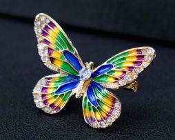 Luxusná smaltová brošňa v tvare farebného motýľa s kryštálikmi,
