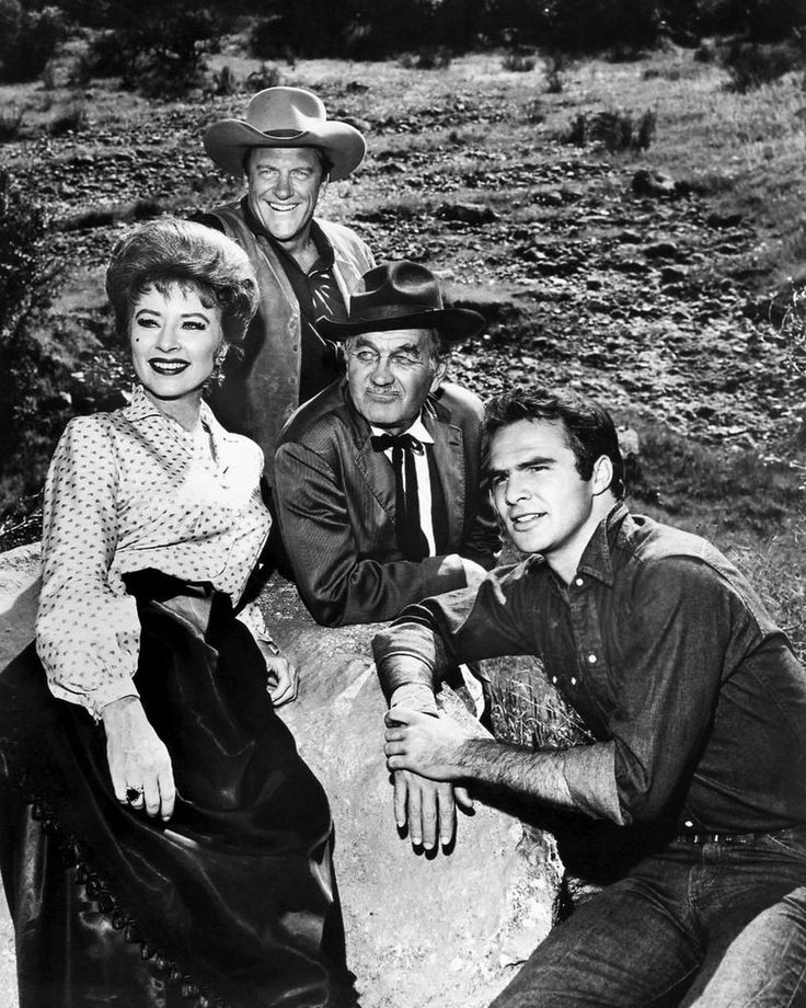 """1963 PUBLICITY PHOTO FOR THE TV SHOW """"GUNSMOKE"""". Our photographs are high quality reproductions, in MINT condition, professionally printed on high gloss photographic paper. From left: Amanda Blake (as Miss Kitty), James Arness (as Matt Dillon), Milburn Stone (as Doc Adams), and Burt Reynolds (as Quint Asper).   eBay!"""