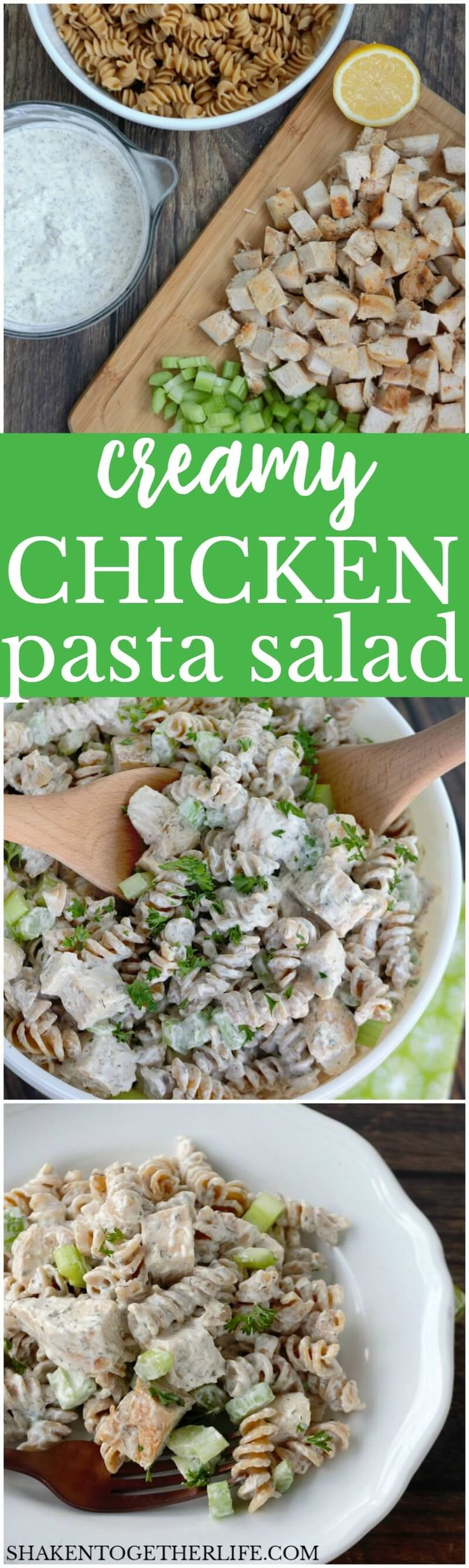 With tender grilled chicken, crunchy celery, whole grain pasta and a flavor packed dressing, this really is the BEST Creamy Chicken Pasta Salad I have ever made! This easy pasta salad recipe is great for lunch, brunch, picnics and potlucks!