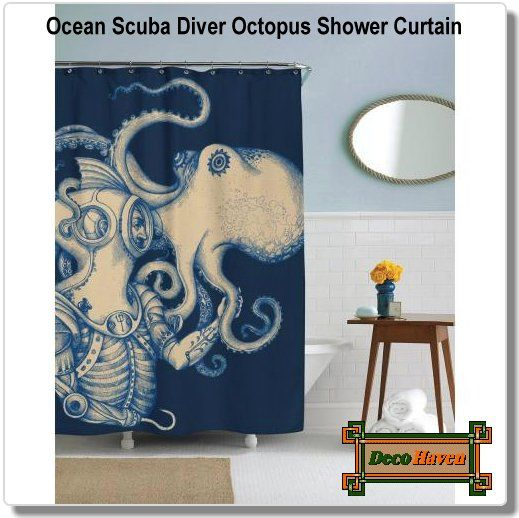 Ocean Scuba Diver Octopus Shower Curtain - Your bathroom will be breath-taking with this 72 inch Ocean Scuba Diver Octopus Shower Curtain! It comes with 12 shower hooks and is made of 100% polyester.