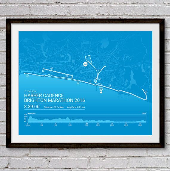 Personalised BRIGHTON Marathon Poster / Memento by Sleepydogdesign