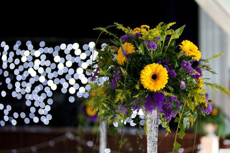 Gel filled lily vase with floral arrangement