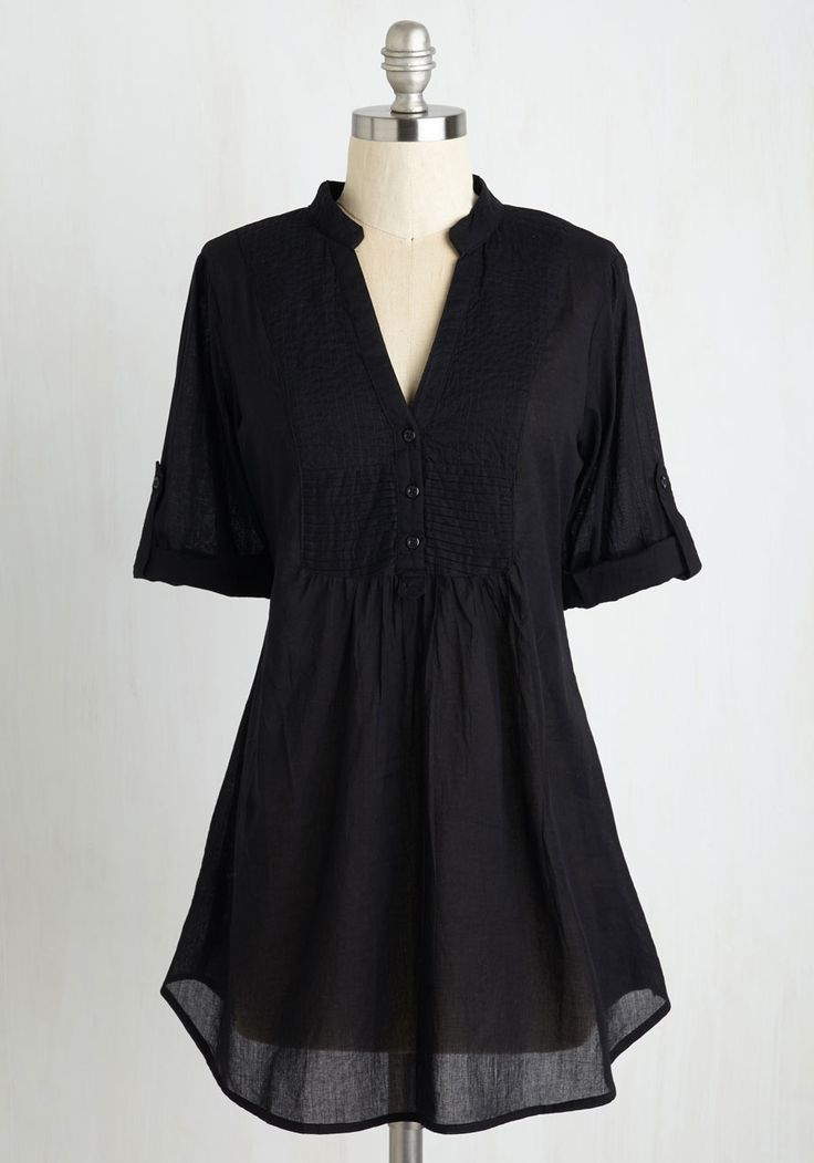 Back Road Ramble Tunic in Black. You always look forward to a weekend drive in the country, and when you spy the soft fabric of this black top, you know its the perfect piece to don on a sun-filled afternoon. #black #modcloth