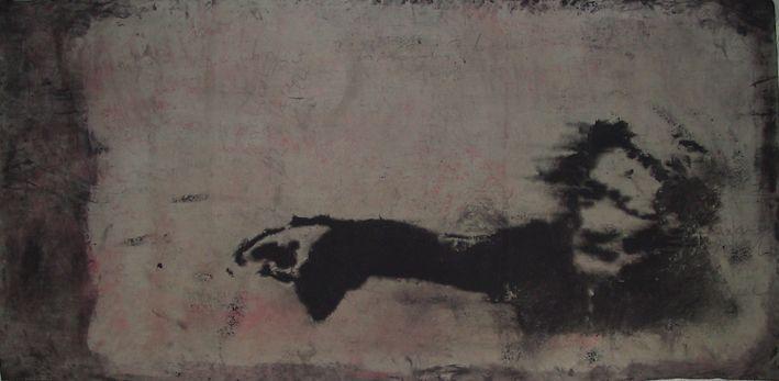 """autore: Francesca Scammacca - """"C'è questo in me"""" - acrilici e grafite su tela - cm 156x74,5 - 2001"""