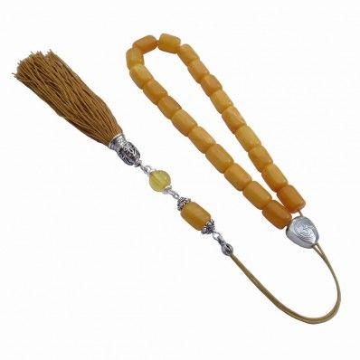 Εύχαντρο – κομπολόι από κεχριμπάρι αντικέ, κλασικό δέσιμο, κωδ. 548