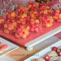 Couture Studio Photography - Baby Shower. Coral, pink and orange decor. Cantaloupe and Watermelon balls.