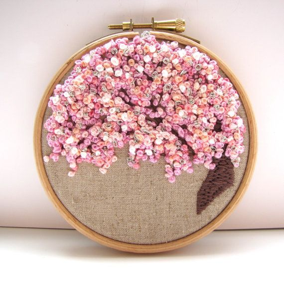 Hand Embroidery Hoop Art . 4 x 4 Inch. Pretty In Pink. Sweet Blossom Tree. Ready For Display by mirrymirry