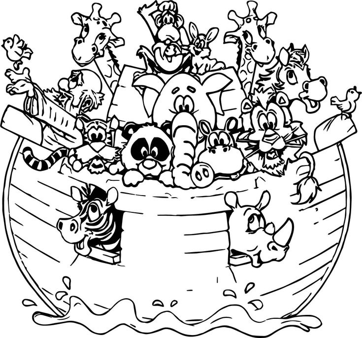 Noah Ark All Animal Coloring Page (With images) | Animal ...