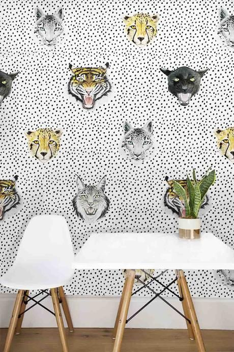 Wildcats Wallpaper Large Scale WE LOVE THIS WALLPAPER FOR ALL THE COOL KIDS! from Wild Hearts Wonder one of our favourite stores! #kidswallpaper #animalwallpaper #leopardprintwallpaper #kidsmodernrooms #modernkidsroom #kidsrooms #childrensrooms #bornadbredstudio