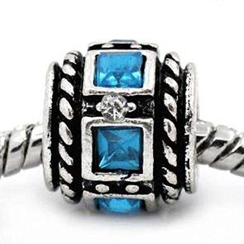 Aqua Squre Design Birthstone Charm Beads For Snake Chain Bracelets