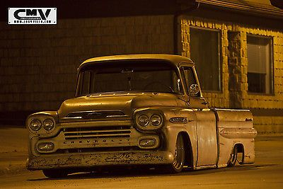 58 59 Chevy Apache Fleetside | ... chevy apache pickup 3100 air ride slammed patina hot rat rod 58 59 : $