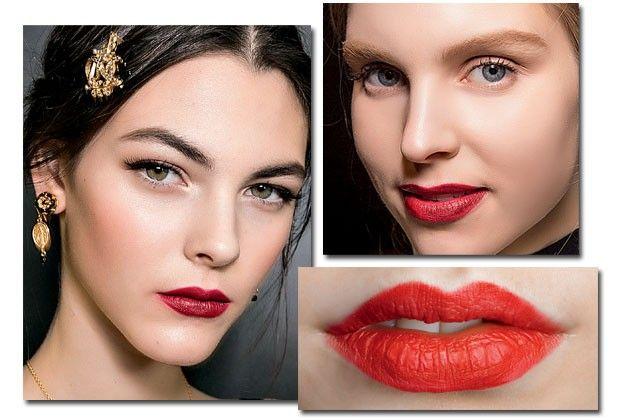 Lábios vermelhos, maquiagem suave e pele levemente pálida. Ótima combinação para o inverno!  (Foto: Imaxtree)