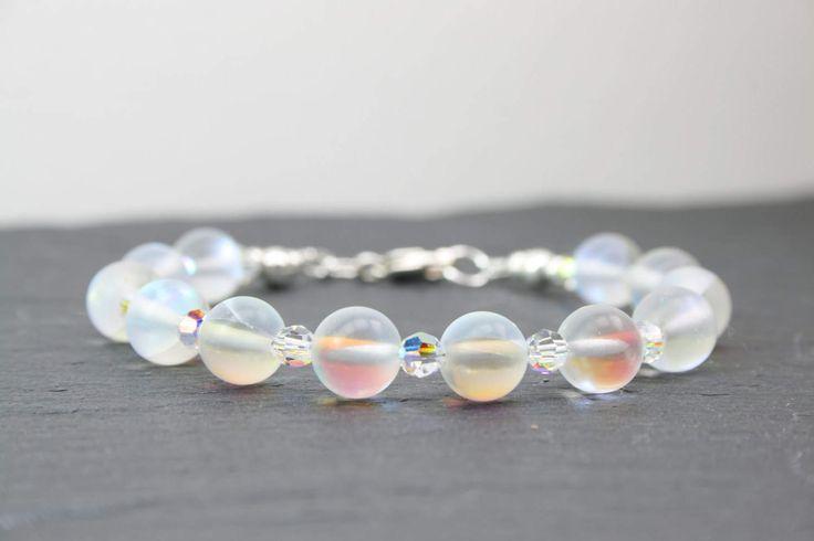 Moonstone Bracelet, Rainbow Crystal Bracelet, Mothers Day, Frosted Moonstone, Sterling Silver, AB Swarovski Crystal, 21st 30th Birthday Gift by MystiqueBlueJewelry on Etsy