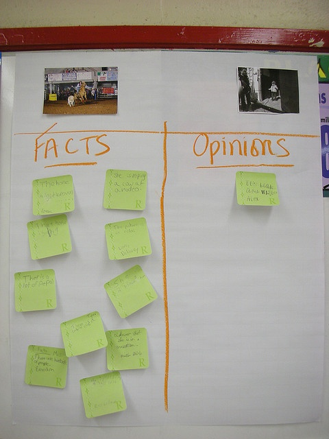 Fact and Opinion...I like the idea of using pictures as the basis for students creating facts and opinions. This would be a fun way to teach Fact and Opinion, and it could be used later on for students who finish work early.