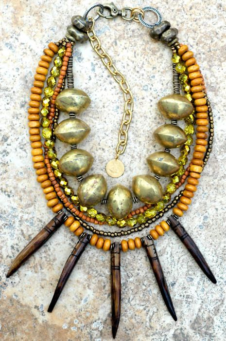SAHARA: Tribal Style Amber, Gold, Bold African Brass and Bone Spike Necklace