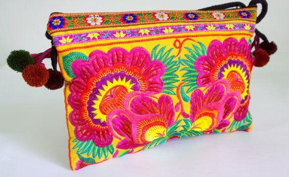 Boho Crossbody Bag  Hmong Embroidery bag  Floral Crossbody