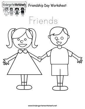 free printable worksheets for preschool   Free Printable Friendship Day Worksheet for Kindergarten