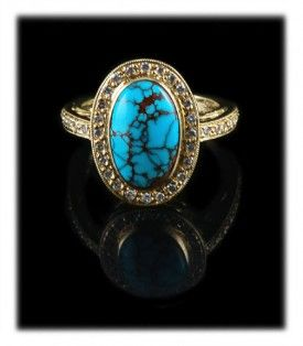 Fine Red Spiderweb Bisbee Turquoise Gold Ring with Diamonds