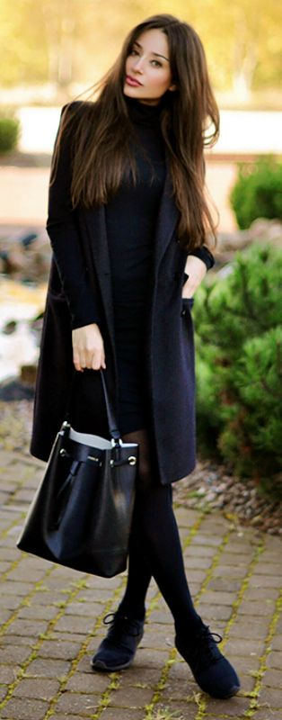 Intriguemenow.blogspot wears a black turtle neck dress and simple brogues. Dress: American Apparel, Waistcoat: Selected.