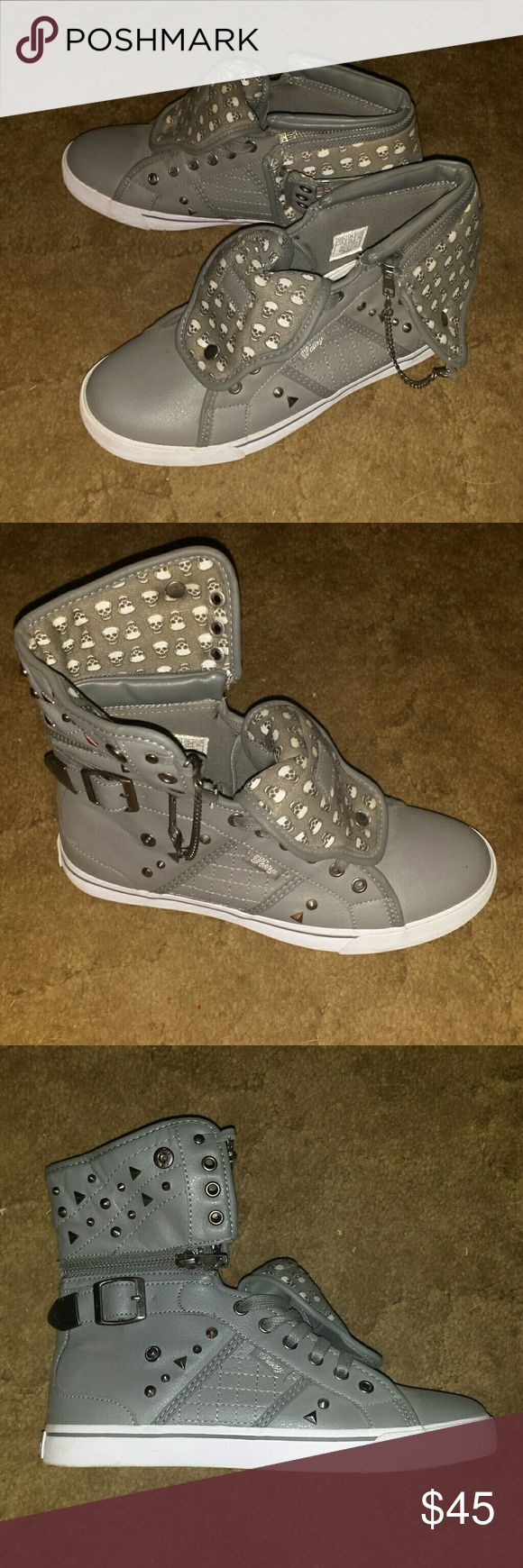 Pastry skull pattern shoes Grey with small white skulls. Has studs on the sides and a flap that can be flopped up or down or taken off and a long tounge that can be snapped down. Comes with grey and white shoe laces. Only worn once. Pastry Shoes Sneakers