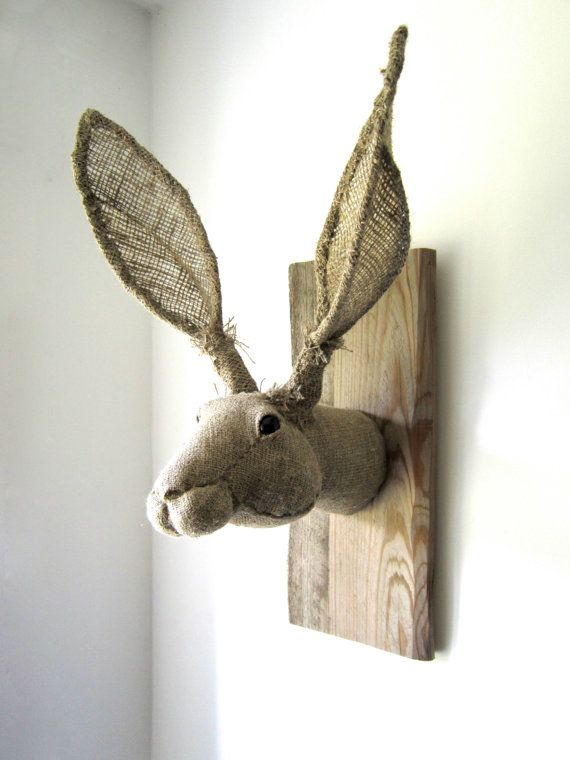 Hare head trophy hunting for unique textile by charactersbyjulia, $288.00