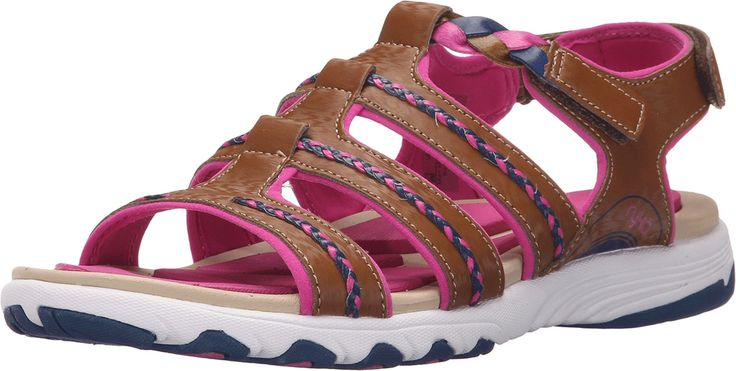Ryka Women's Damsel Brown Sandal 7.5 C - Wide. Hook and loop closure. Lightweight EVA footbed with a RE-ZORB LITE insert inspired by reflexology. Soft, compression-molded EVA midsole. Structured outsole with durable TPR for added stability and long-lasting wear.