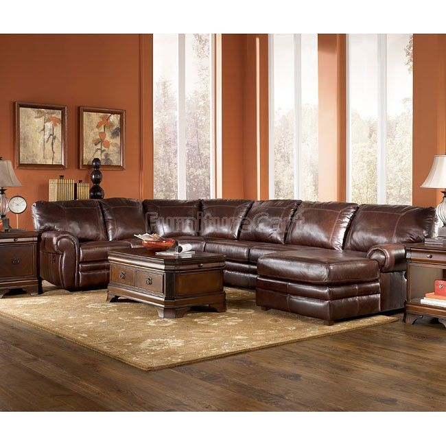 Merrion Mahogany Sectional By Ashley Furniture At FurnitureCart FurnitureRoom Ideas