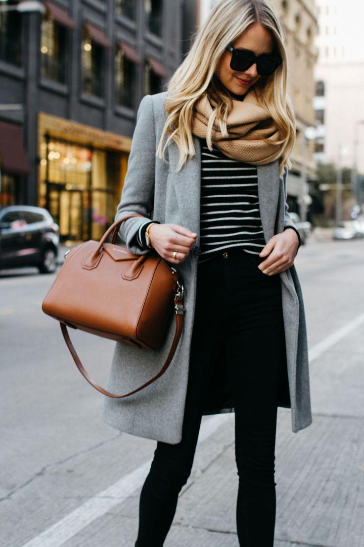 blonde woman wearing zara grey wool coat tan scarf black white striped sweater black skinny jeans givenchy cognac antigona satchel fashion jackson dallas blogger fashion blogger street style