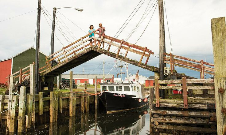 A stop in Yarmouth, Nova Scotia is a chance to cross the world's smallest drawbridge at the Sandford wharf.