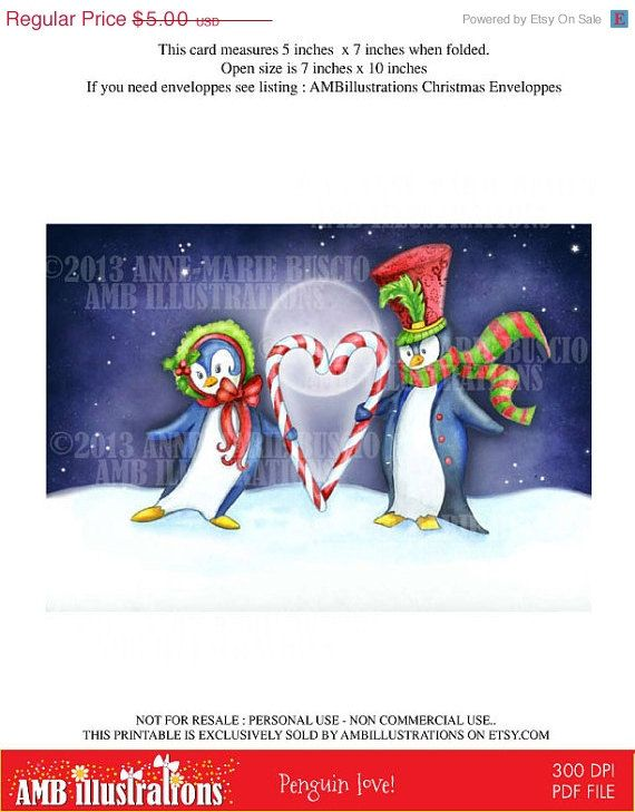 Penguin love!  Perfect card for Christmas!  Blank card perfect and ready to print. https://www.etsy.com/listing/160609461/40-off-printable-christmas-cards-diy?ref=shop_home_active