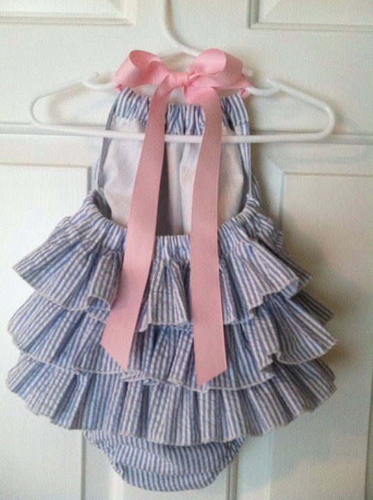 Baby Clothes: Adorable Blue & White Ruffled Baby Girl Seersucker