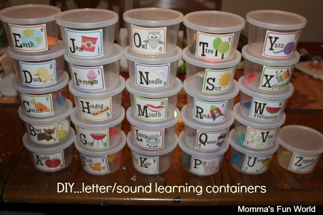 Alphabet and sounds teaching tubs, great for a classroom center for kids to explore. FREE printables to make and save over $100. to make yourself.