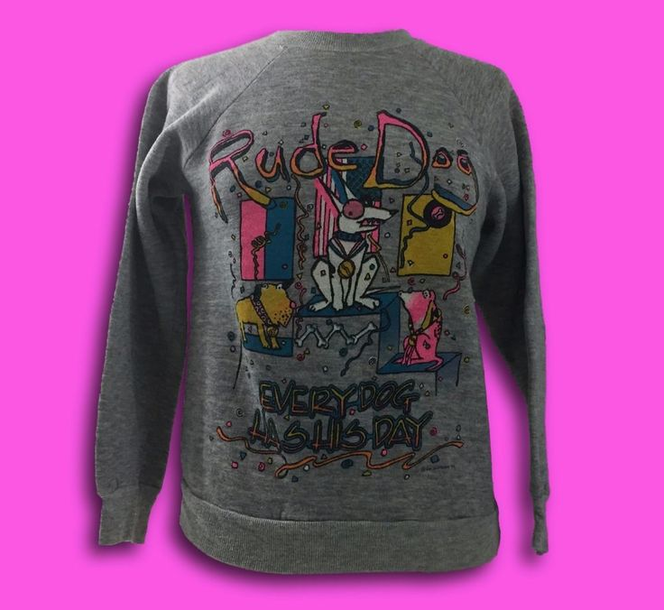 Vintage 80's Sun Sportswear Rude Dog Neon Skateboarding Surf Gear Sweatshirt S   eBay