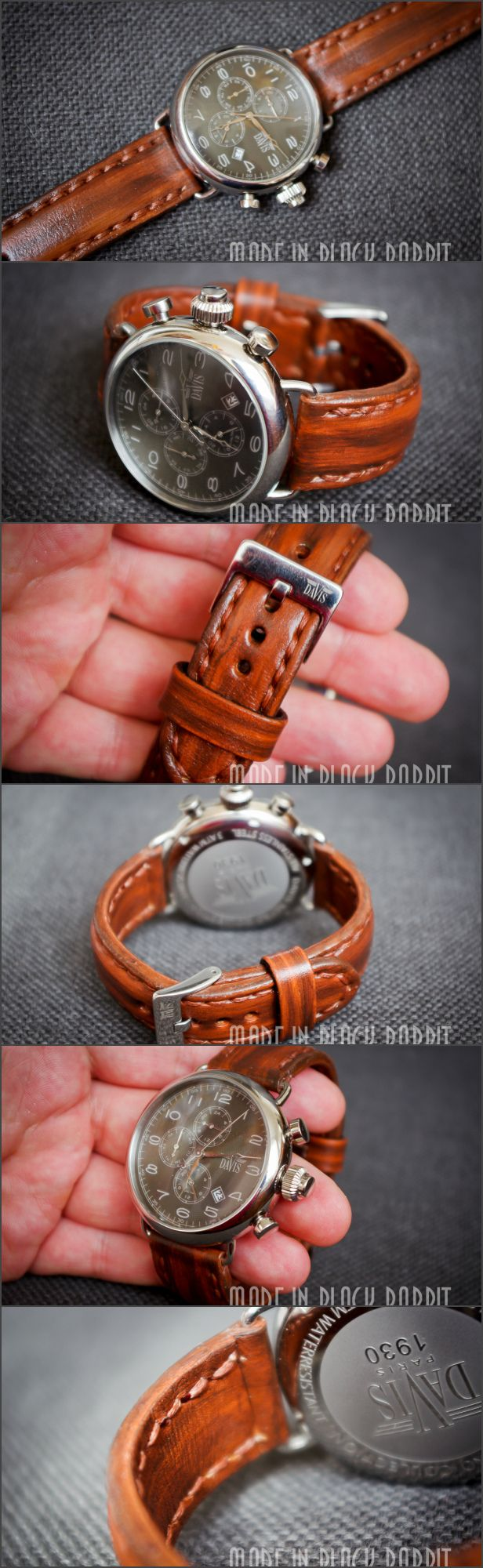 The watch band from natural leather. Thickness 2 MM. Vegetable tanning of leather. Shoddy stitching and manually. Wax Thread 1 MM. Maybe make any strap width, colors and textures.