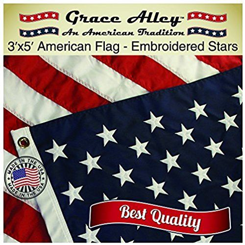American Flag: American Made by Grace Alley - 3x5 FT US Flag Made In USA - Embroidered Stars and Sewn Stripes. This American Flag Meets US Flag Code.