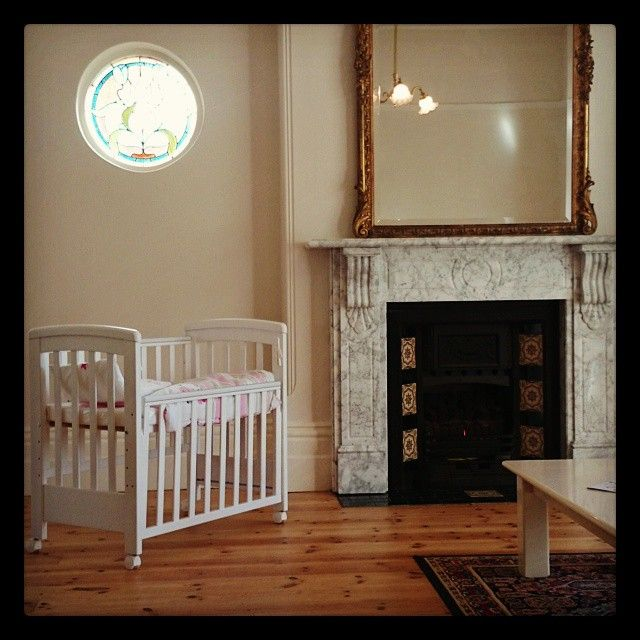 Treppy Dreamy Mini Co-Sleeper next to marble fireplace with antique mirror https://www.facebook.com/pages/Treppy-Australia-Pty-Ltd/742646392463153?ref=hl