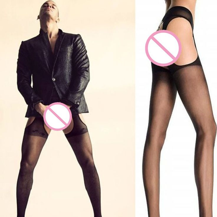 NEW Men  SEXY Transparent Stockings Sexy Men Sheer See Through Mens Pantyhose Open Tights Free Size Black