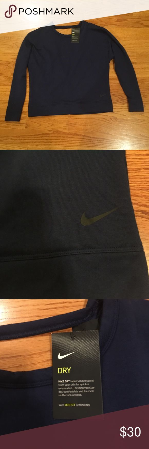 NWT Nike Open Back Sweatshirt NWT! Gifted to me but I wear an XS so selling! Super cute open back! Navy color Nike Sweaters