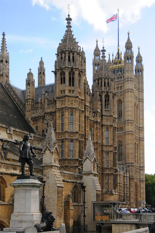 Architectural Detail of Facade of Parliament Building, London, England