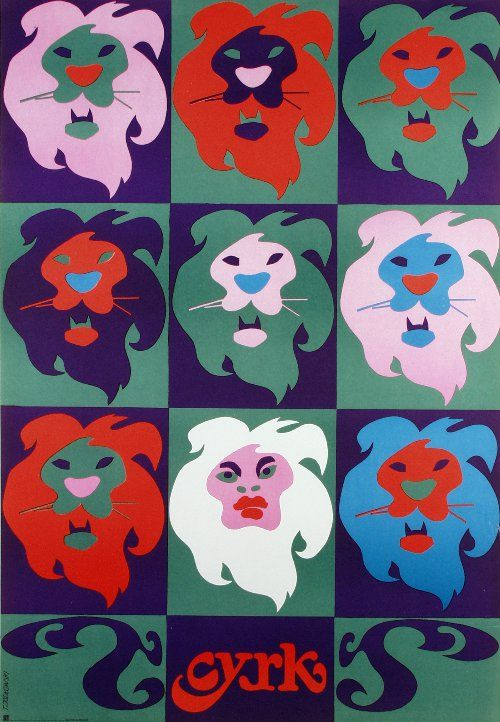 8 Lions and one Woman  Original Polish CYRK poster  designer: Tadeusz Jodlowski  year: 1971