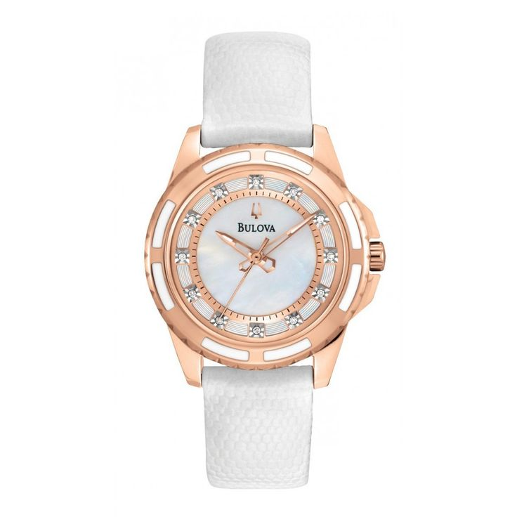 BULOVA DIAMOND 98S119 Elegancki zegarek damski. Jego perłowa tarcza została ozdobiona aż 12 prawdziwymi diamentami, które symbolizują indeksy godzin. Sprawdź na www.timetrend.pl #timetrend #bulova #zegarek #zegarki