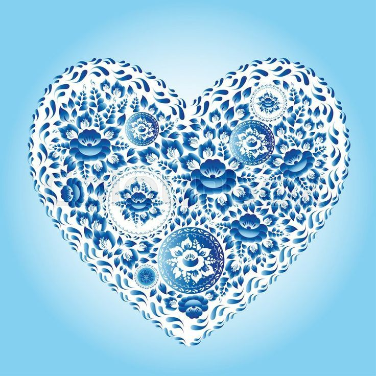 Stock image of 'Heart made of blue flowers. Romantic cartoon invitation card. ': Stock image of 'Heart made of blue flowers. Romantic cartoon invitation card. '