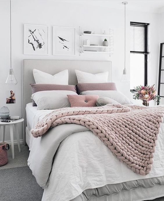 Grey, white and pink bedroom