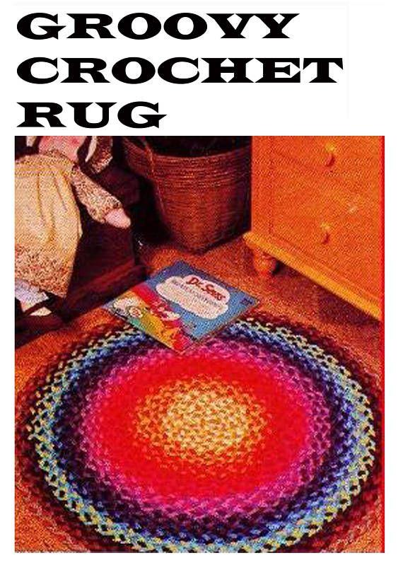 PDF Vintage 1970s RAINBOW Rug Crochet Pattern Boho