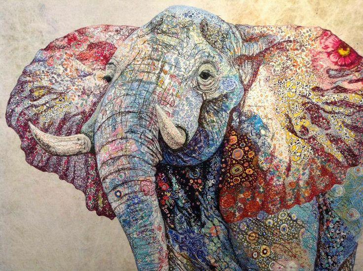 prachtige quilt van een olifant van Patrizia Girlanda