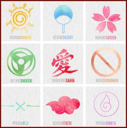 Uzumaki Naruto, Uchiha Sasuke, Haruno Sakura, Hatake Kakashi, Sabaku no Gaara, Nara Shikamaru, Hyuuga Neji, Uchiha Itachi, Hyuga Hinata symbols