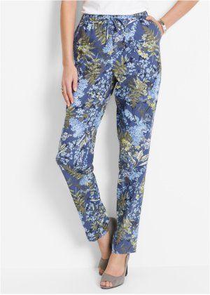 Льняные брюки с цветочным принтом, bpc selection, индиго с рисунком